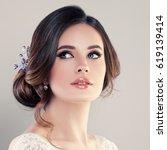 beautiful bride with  makeup... | Shutterstock . vector #619139414