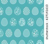 seamless pattern with easter... | Shutterstock .eps vector #619141610