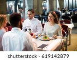 two positive couples sitting at ...   Shutterstock . vector #619142879