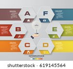 abstract 6 steps infographis... | Shutterstock .eps vector #619145564