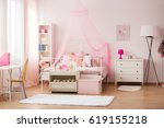 room for young girl with pink... | Shutterstock . vector #619155218