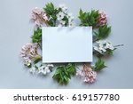 spring background with paper... | Shutterstock . vector #619157780