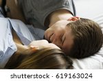 young handsome man smiling in... | Shutterstock . vector #619163024