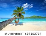 romantic cozy hammock in the... | Shutterstock . vector #619163714