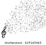 set of musical notes on five... | Shutterstock .eps vector #619165463