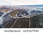 aerial view of hverfjall crater ... | Shutterstock . vector #619167944