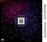hud style in network security... | Shutterstock .eps vector #619169540
