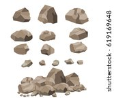 rock stone big set cartoon. set ... | Shutterstock .eps vector #619169648