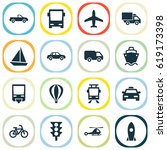shipment icons set. collection... | Shutterstock .eps vector #619173398