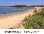 summer holidays.ionian coast of ... | Shutterstock . vector #619179974