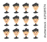 set of emoji character. cartoon ... | Shutterstock .eps vector #619189574