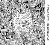 cartoon cute doodles hand drawn ... | Shutterstock .eps vector #619189610