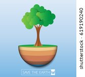 save the earth.with green eco... | Shutterstock .eps vector #619190240