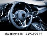 interior of luxurious sport car | Shutterstock . vector #619190879