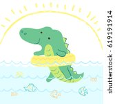 cute crocodile baby swims with... | Shutterstock .eps vector #619191914