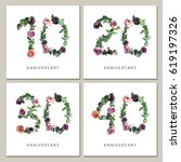 Flowers Numbers Cards Set Anniversary - Fine Art prints