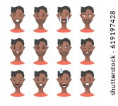 set of male emoji characters.... | Shutterstock .eps vector #619197428