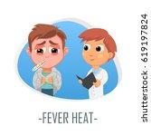 fever heat medical concept.... | Shutterstock .eps vector #619197824