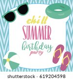 pool party invitation template... | Shutterstock .eps vector #619204598