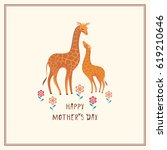 Stock vector happy mother s day greeting card in cartoon style with the image of cute animals and their cubs 619210646