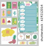 summer weekly and daily planner ... | Shutterstock .eps vector #619212014