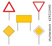 road sign icons. flat design | Shutterstock .eps vector #619212440