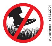 please keep of the grass sign | Shutterstock .eps vector #619212704