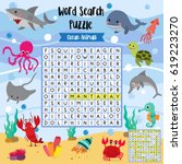 words search puzzle game of... | Shutterstock .eps vector #619223270