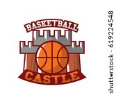 basketball castle badge vector | Shutterstock .eps vector #619224548