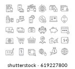 set  line icons in flat design  ... | Shutterstock . vector #619227800