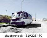wrecked burned mini van on the...