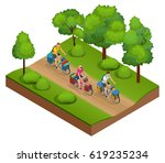 isometric bikers on bicycle... | Shutterstock .eps vector #619235234