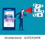 businessman using technology... | Shutterstock .eps vector #619242698