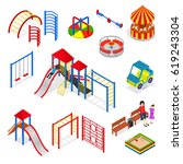 kids playground elements set... | Shutterstock .eps vector #619243304