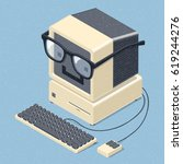 smiling retro computer with... | Shutterstock .eps vector #619244276