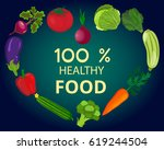 fresh organic food.set of... | Shutterstock .eps vector #619244504