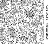 floral black and white seamless ... | Shutterstock .eps vector #619245293