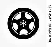 flat black wheel and tire with... | Shutterstock .eps vector #619245743