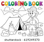 coloring book scout boy theme 4 ... | Shutterstock .eps vector #619249370