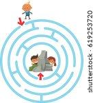 children maze. fun gaming for... | Shutterstock .eps vector #619253720