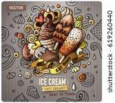 ice cream cartoon vector doodle ... | Shutterstock .eps vector #619260440
