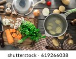 raw ingredients for cooking... | Shutterstock . vector #619266038