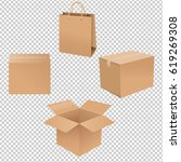 shipping box | Shutterstock . vector #619269308