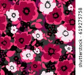 trendy seamless floral pattern... | Shutterstock .eps vector #619275758