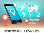 phone with world map and red... | Shutterstock .eps vector #619277198