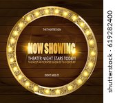 round frame cinema on wooden...   Shutterstock .eps vector #619282400