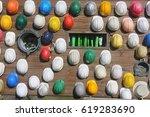 construction hard hat on wooden ... | Shutterstock . vector #619283690