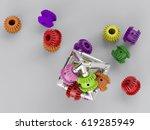 3d rendering gear assembly... | Shutterstock . vector #619285949