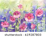 mallow in watercolor  suit for... | Shutterstock . vector #619287803