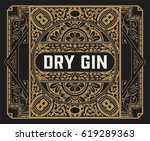 gin label with floral frame | Shutterstock .eps vector #619289363